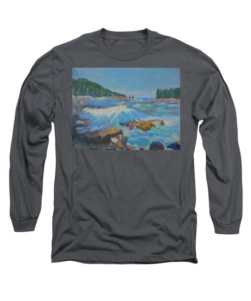 Long Sleeve T-Shirt featuring the painting Schoodic Inlet by Francine Frank
