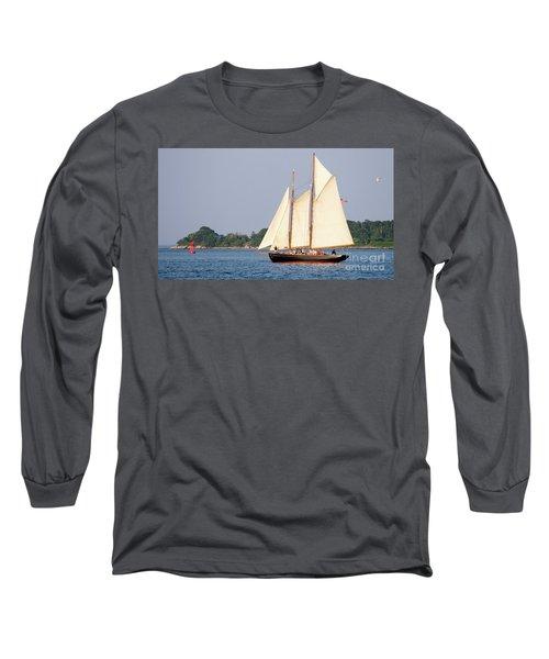 Long Sleeve T-Shirt featuring the photograph Schooner Cruise, Casco Bay, South Portland, Maine  -86696 by John Bald