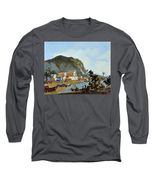 Sea And Mountain With Boats Long Sleeve T-Shirt