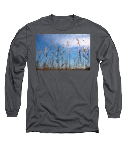 Long Sleeve T-Shirt featuring the painting Sea Oats And Sky On Outer Banks Ap by Dan Carmichael