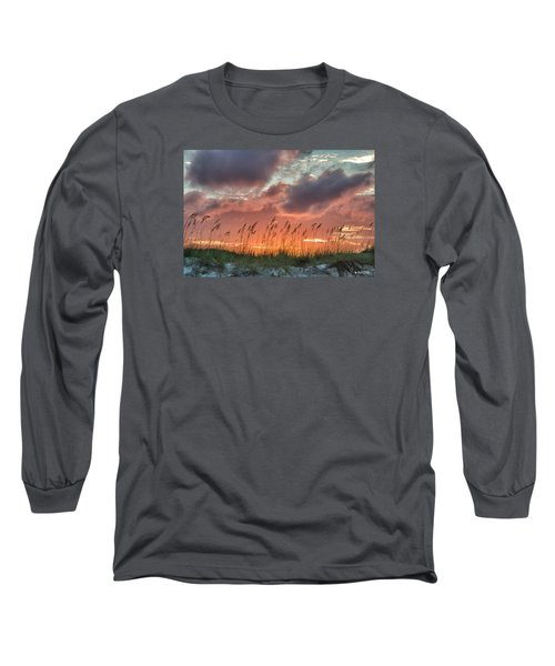 Long Sleeve T-Shirt featuring the digital art Sea Oats Sunset by Phil Mancuso