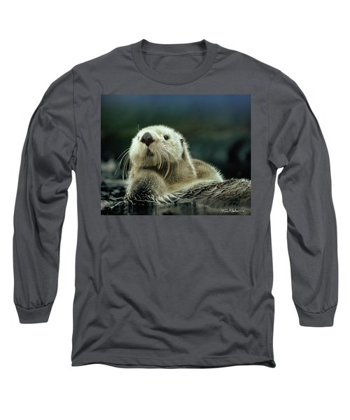 Sea Otter  Long Sleeve T-Shirt by Tim Fitzharris