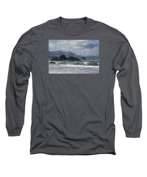 Sea Stacks And Surf Long Sleeve T-Shirt