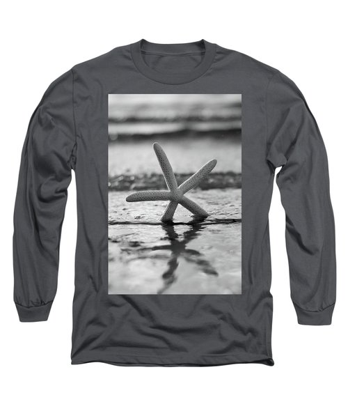 Long Sleeve T-Shirt featuring the photograph Sea Star Bw Vert by Laura Fasulo