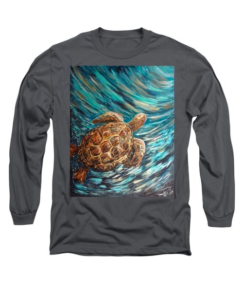 Sea Turtle Wave Guam Long Sleeve T-Shirt