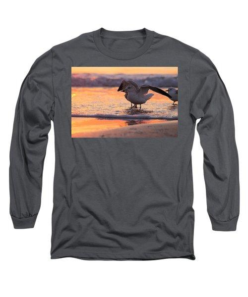 Seagull Stretch At Sunrise Long Sleeve T-Shirt
