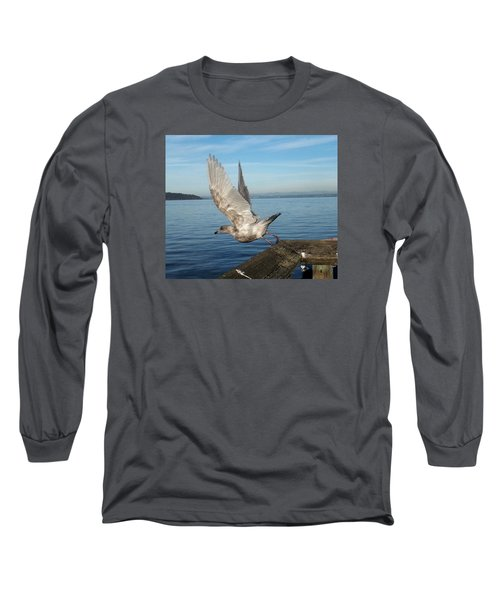 Seagull Taking Off Long Sleeve T-Shirt by Karen Molenaar Terrell