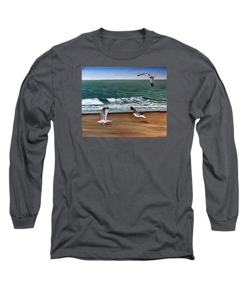 Seagulls 2 Long Sleeve T-Shirt by Natalia Tejera
