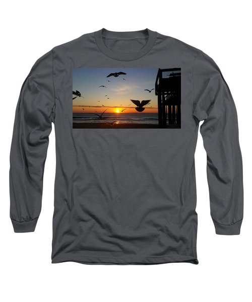 Seagulls At Sunrise Long Sleeve T-Shirt