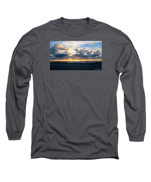 Seagulls On The Beach At Sunrise Long Sleeve T-Shirt by Robert Banach