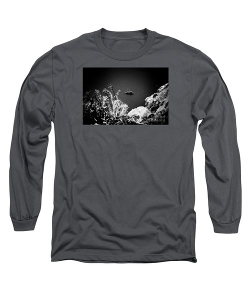 Seascape With Boat Artmif.lv Balck And White Long Sleeve T-Shirt