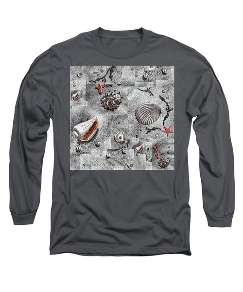 Seashells Collage Of Any Color Long Sleeve T-Shirt