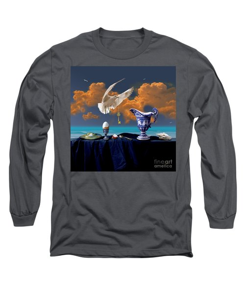 Long Sleeve T-Shirt featuring the digital art Seaside Breakfast by Alexa Szlavics