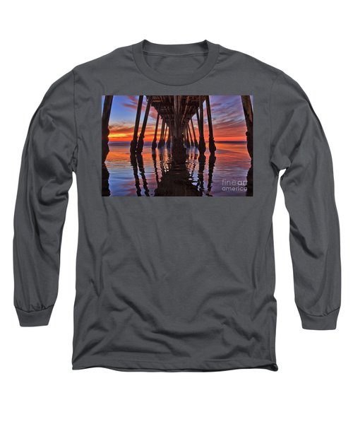 Seaside Reflections Under The Imperial Beach Pier Long Sleeve T-Shirt