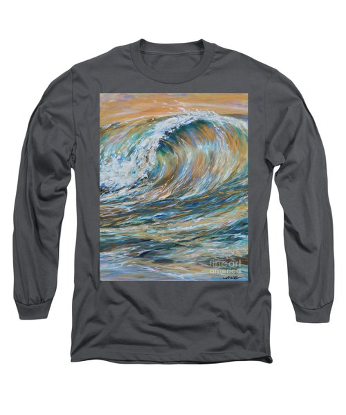 Seaspray Gold Long Sleeve T-Shirt by Linda Olsen