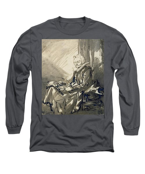 Seated Woman With An Open Book On Her Lap Long Sleeve T-Shirt