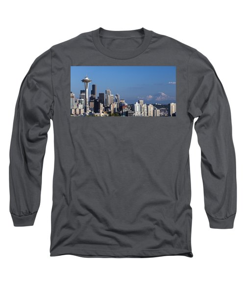 Seattle And Mt Rainier Long Sleeve T-Shirt by Ed Clark