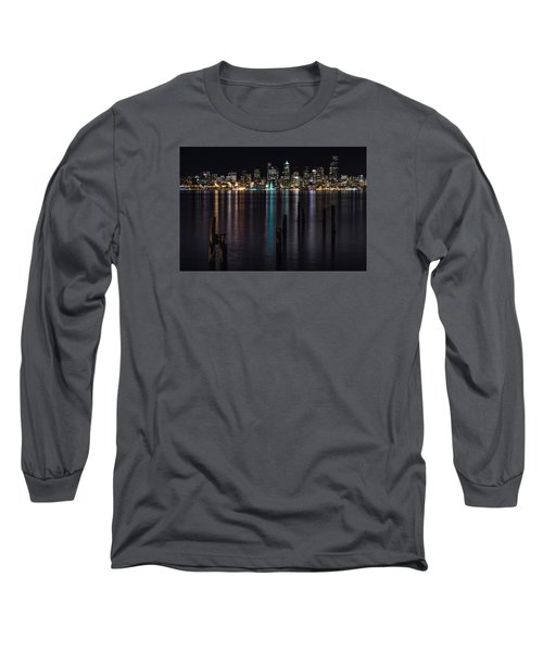 Seattle At Night Long Sleeve T-Shirt by Ed Clark