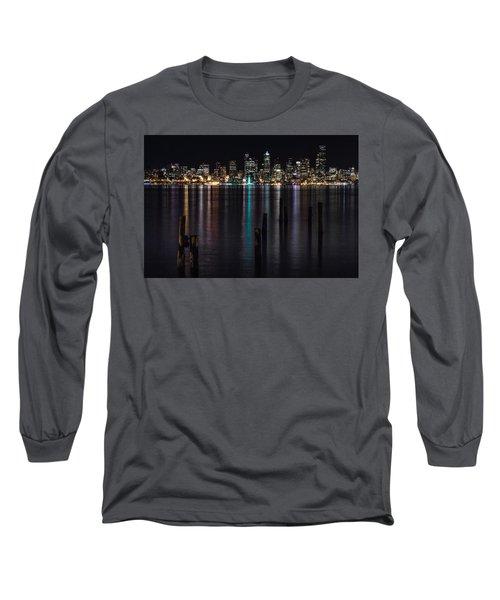 Seattle At Night Long Sleeve T-Shirt