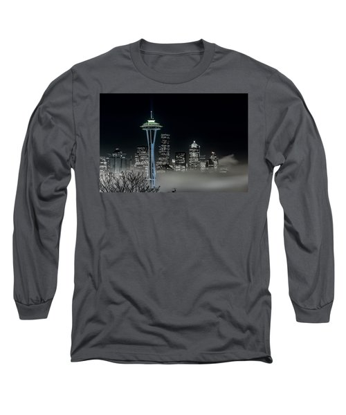 Seattle Foggy Night Lights In Bw Long Sleeve T-Shirt