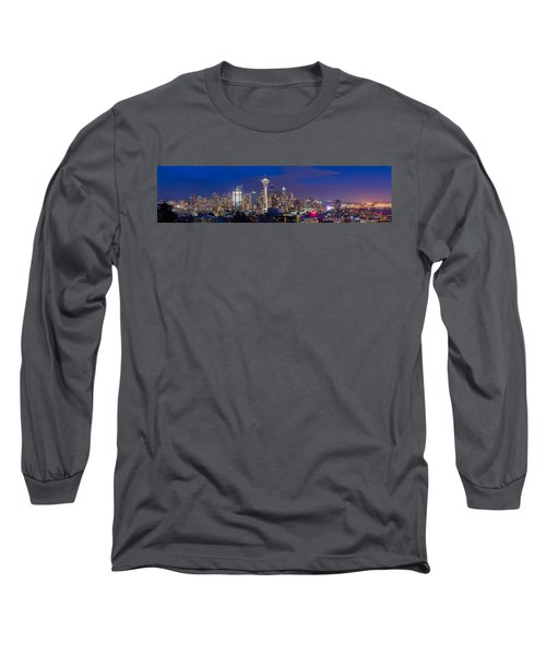 Seattle Night View Long Sleeve T-Shirt by Ken Stanback