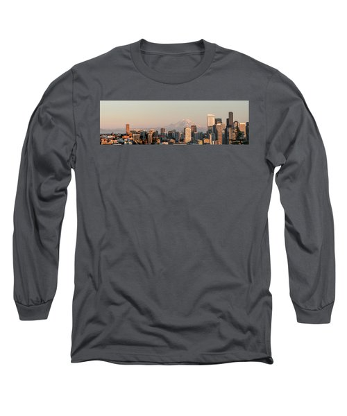 Long Sleeve T-Shirt featuring the photograph Seattle Panorama At Dusk by E Faithe Lester