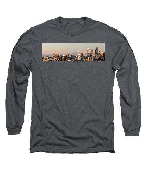Seattle Panorama At Dusk Long Sleeve T-Shirt