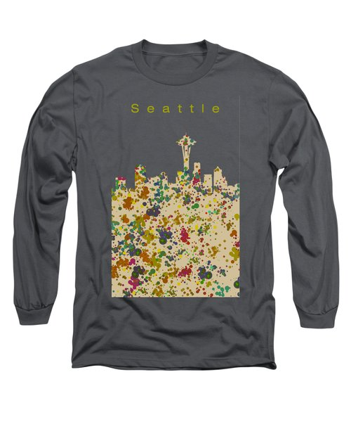 Seattle Skyline 1 Long Sleeve T-Shirt by Alberto RuiZ