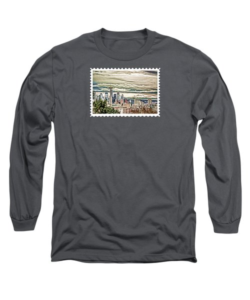 Seattle Skyline In Fog And Rain Long Sleeve T-Shirt