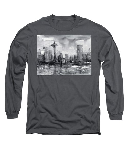 Seattle Skyline Painting Watercolor  Long Sleeve T-Shirt by Olga Shvartsur