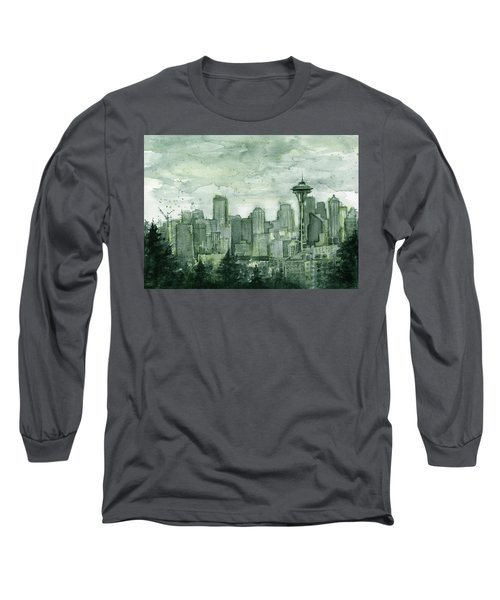 Seattle Skyline Watercolor Space Needle Long Sleeve T-Shirt