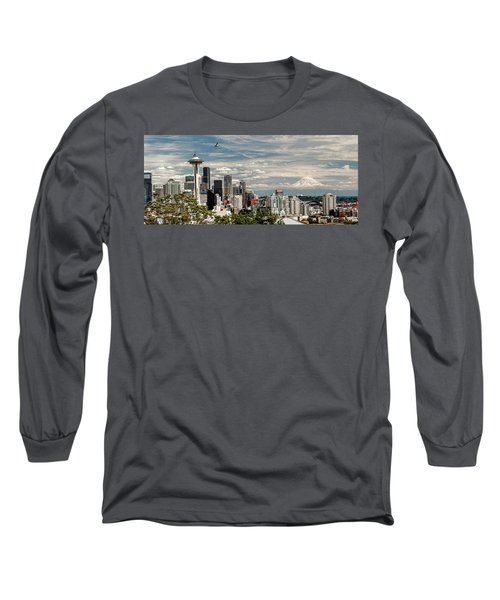 Seattle Space Needle With Mt. Rainier Long Sleeve T-Shirt by Tony Locke