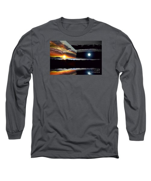 Sechelt Sunset Day And Night Long Sleeve T-Shirt by Elaine Hunter