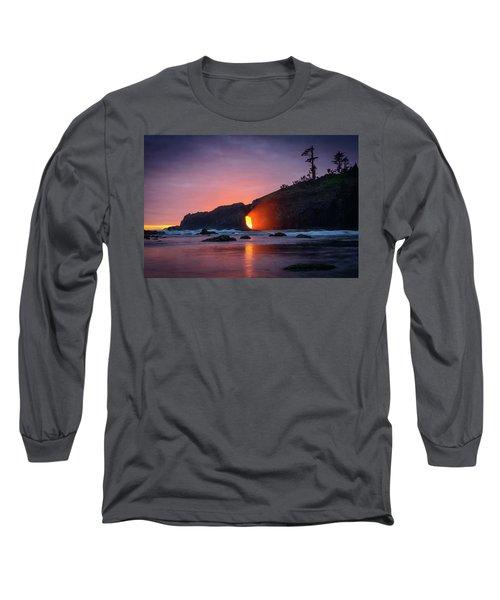 Long Sleeve T-Shirt featuring the photograph Second Beach Light Shaft by Dan Mihai