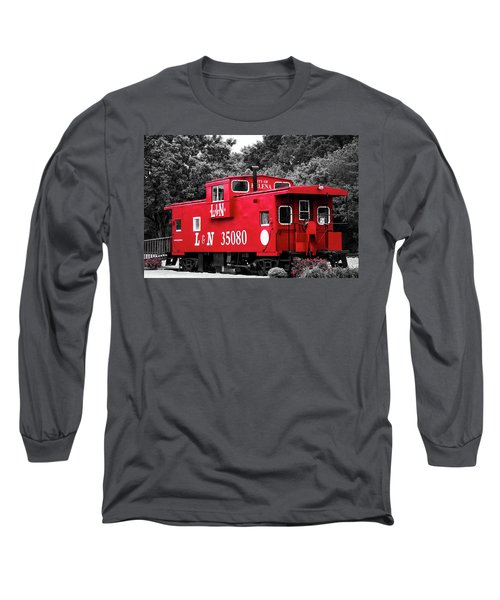 Long Sleeve T-Shirt featuring the photograph Selective Color Red Caboose by Parker Cunningham