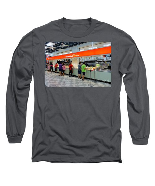 Long Sleeve T-Shirt featuring the photograph Self-service Restaurant On A Sidewalk In Kaohsiung City by Yali Shi