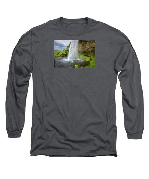 Seljalandsfoss With Rainbow, Iceland Long Sleeve T-Shirt