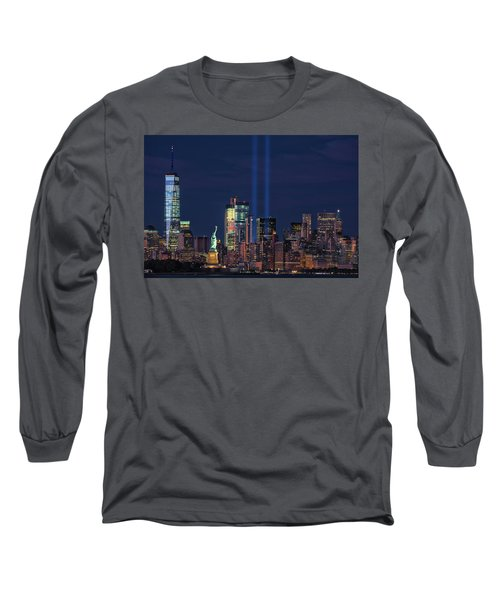 Long Sleeve T-Shirt featuring the photograph September 11tribute In Light by Emmanuel Panagiotakis