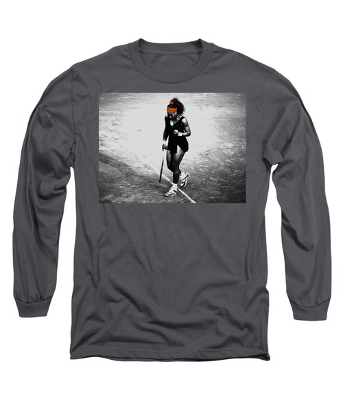 Serena Williams Match Point 3a Long Sleeve T-Shirt by Brian Reaves
