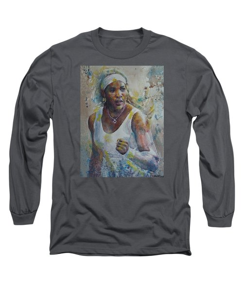 Serena Williams - Portrait 5 Long Sleeve T-Shirt by Baresh Kebar - Kibar