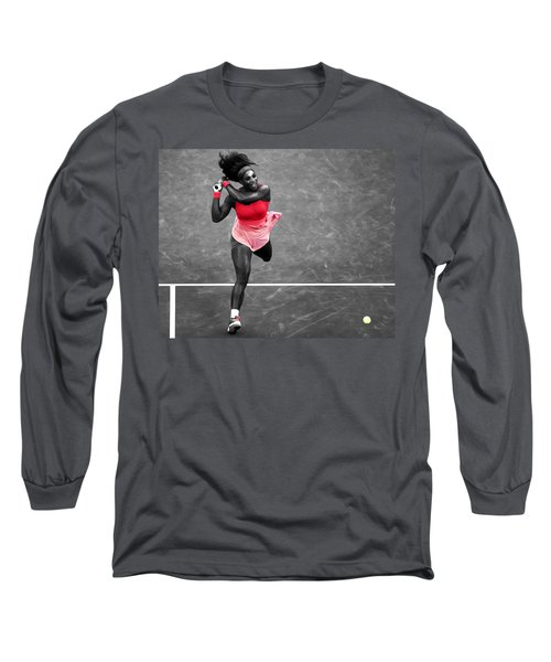 Serena Williams Strong Return Long Sleeve T-Shirt by Brian Reaves
