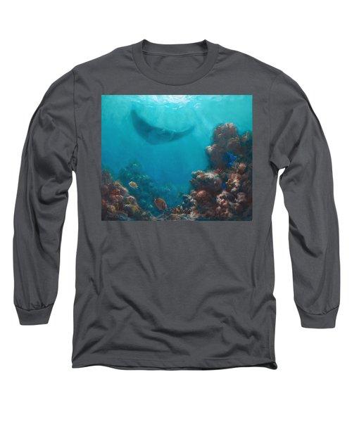 Serenity - Hawaiian Underwater Reef And Manta Ray Long Sleeve T-Shirt by Karen Whitworth