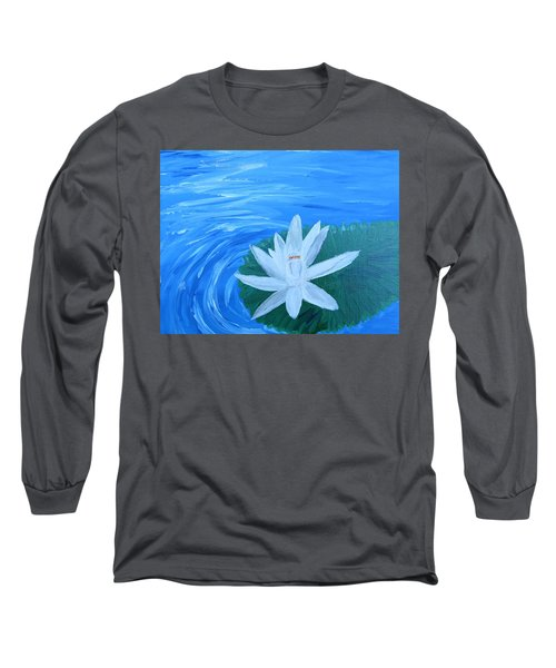 Serenity White Water Lily Long Sleeve T-Shirt