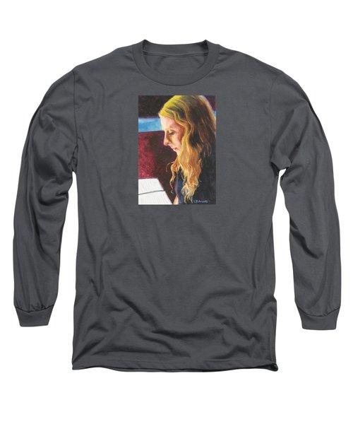 Serious Contemplation Of A Menu Long Sleeve T-Shirt by Connie Schaertl