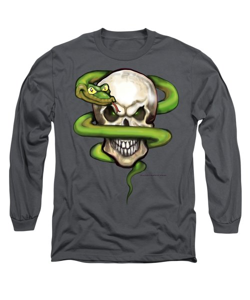 Serpent Evil Skull Long Sleeve T-Shirt by Kevin Middleton