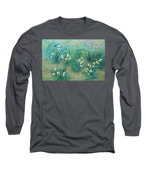 Long Sleeve T-Shirt featuring the painting Seven Daffodils by Xueling Zou