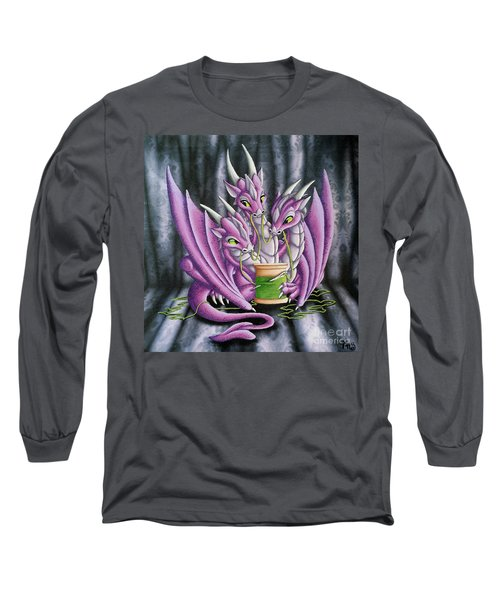 Long Sleeve T-Shirt featuring the painting Sewing Dragons by Mary Hoy