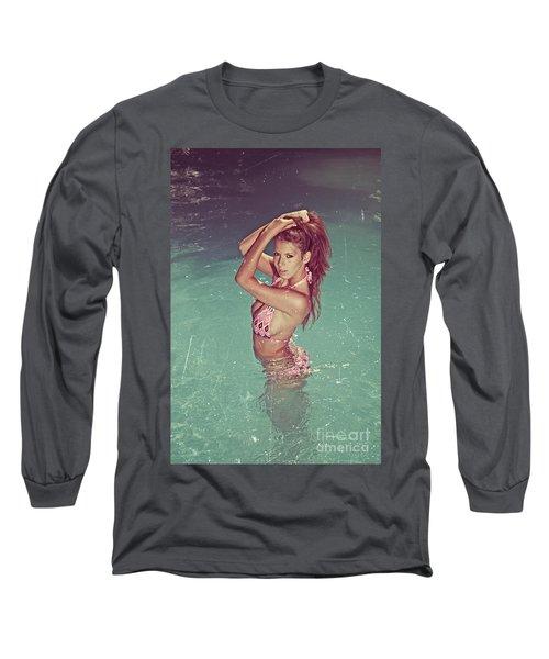 Sexy Woman In Bikini In The Water And Retro Look Image Finish Long Sleeve T-Shirt