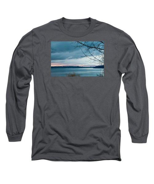 Shades Of Blue As Night Falls Long Sleeve T-Shirt by E Faithe Lester