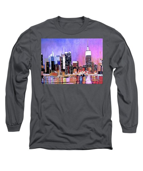 Long Sleeve T-Shirt featuring the painting Shades Of Twilight by Donna Blossom